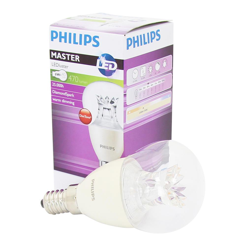 Philips LEDluster E14 P48 6W 827 Helder (MASTER) | DimTone Dimbaar - Vervangt 40W