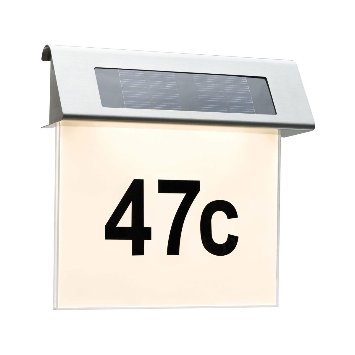 Paulmann Solar LED Huisnummer Muurlamp Wit Roestvrij Staal IP44 1x 0,2W