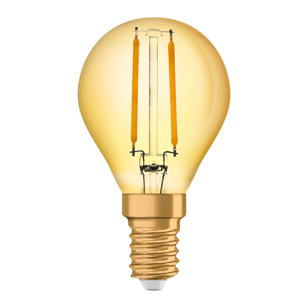 Osram Vintage 1906 LED Classic E14 P 1.5W 824 Filament Goud | Zeer Warm Wit - Vervangt 12W
