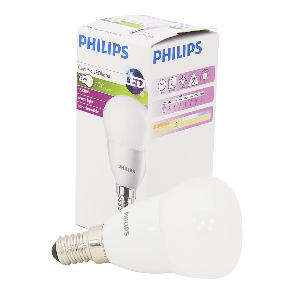Philips CorePro LEDluster E14 P45 5.5W 827 Mat | Vervangt 40W