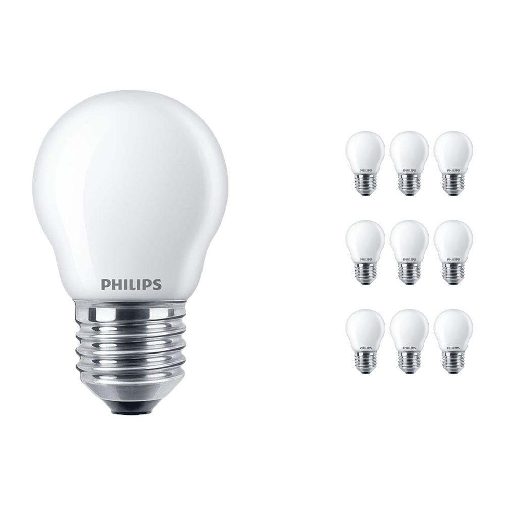 Voordeelpak 10x Philips Classic LEDlustre E27 P45 4.3W 827 Mat | Vervangt 40W