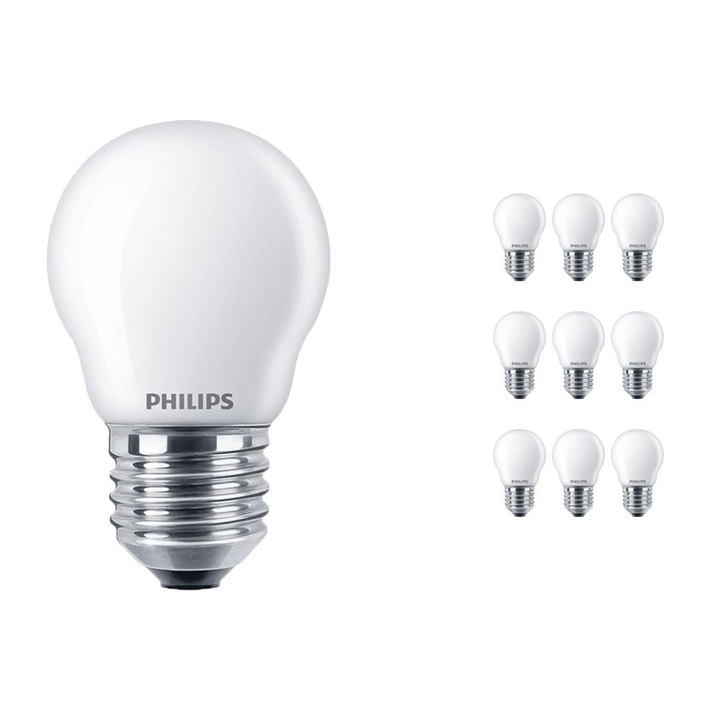 Voordeelpak 10x Philips Classic LEDlustre E27 P45 2.2W 827 Mat | Vervangt 25W
