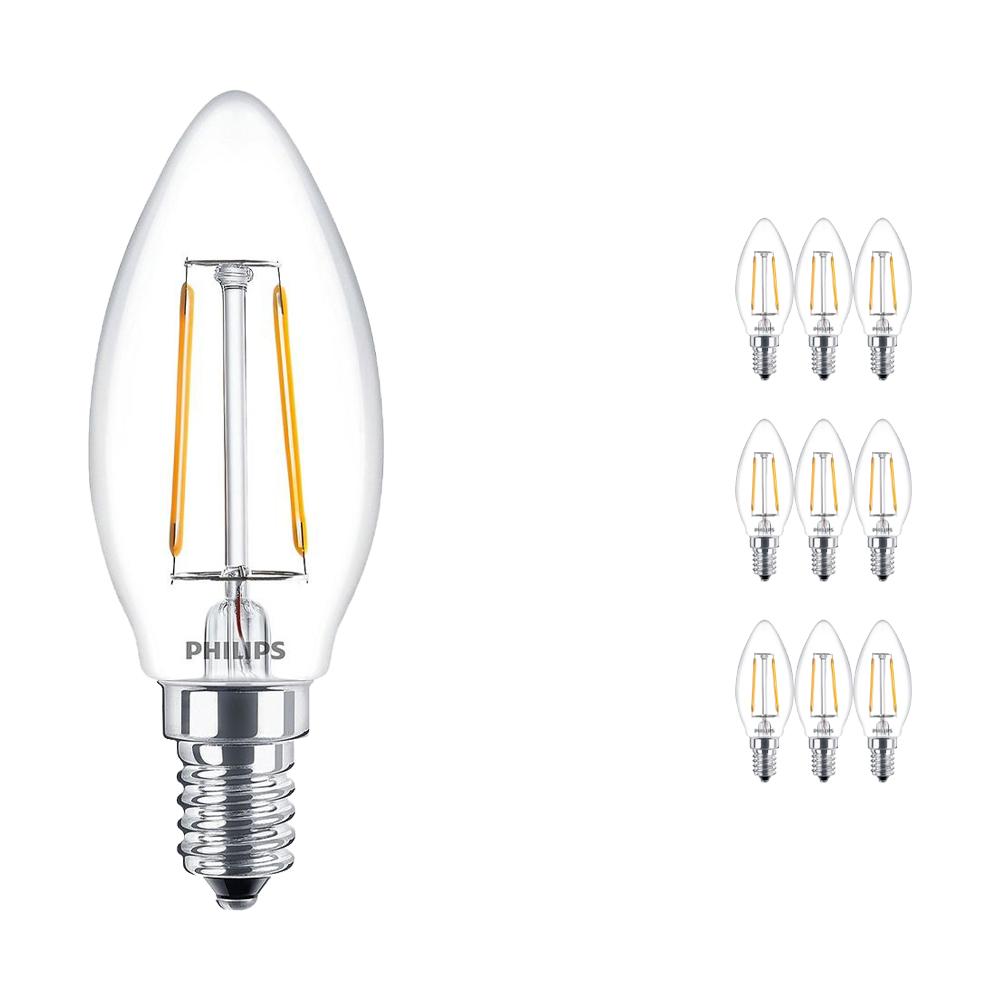 Voordeelpak 10x Philips Classic LEDcandle E14 B35 2.5W 827 Helder | Vervangt 25W
