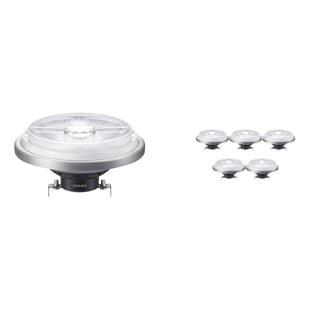 Voordeelpak 6x Philips LEDspot ExpertColor G53 AR111 (MASTER) 11W 927 24D | Beste Kleurweergave - Vervangt 50W