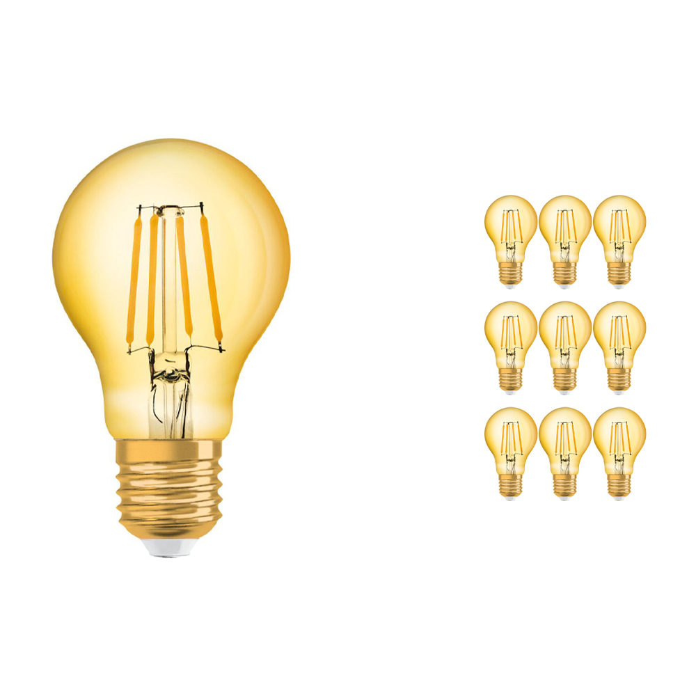 Voordeelpak 10x Osram Vintage 1906 LED Klassiek E27 A 4W 824 Filament Goud | Zeer Warm Wit - Vervangt 35W