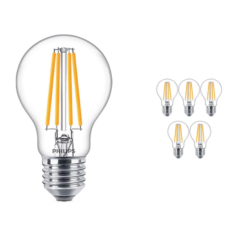 Voordeelpak 6x Philips Klassiek LEDbulb E27 A60 10.5W 840 Filament | Koel Wit - Vervangt 100W