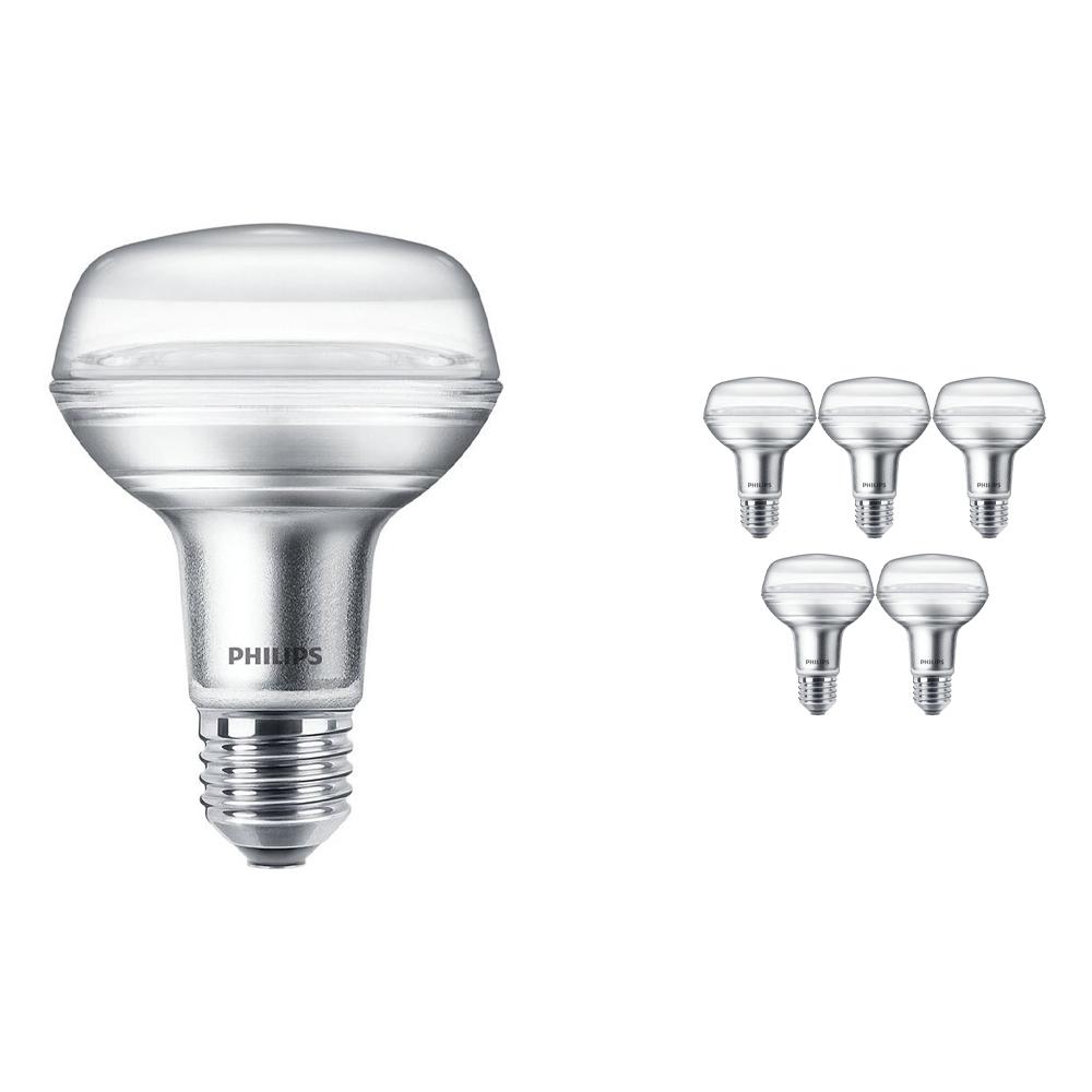Voordeelpak 6x Philips CorePro LEDspot E27 Reflector R80 4W 827 36D | Zeer Warm Wit - Vervangt 60W