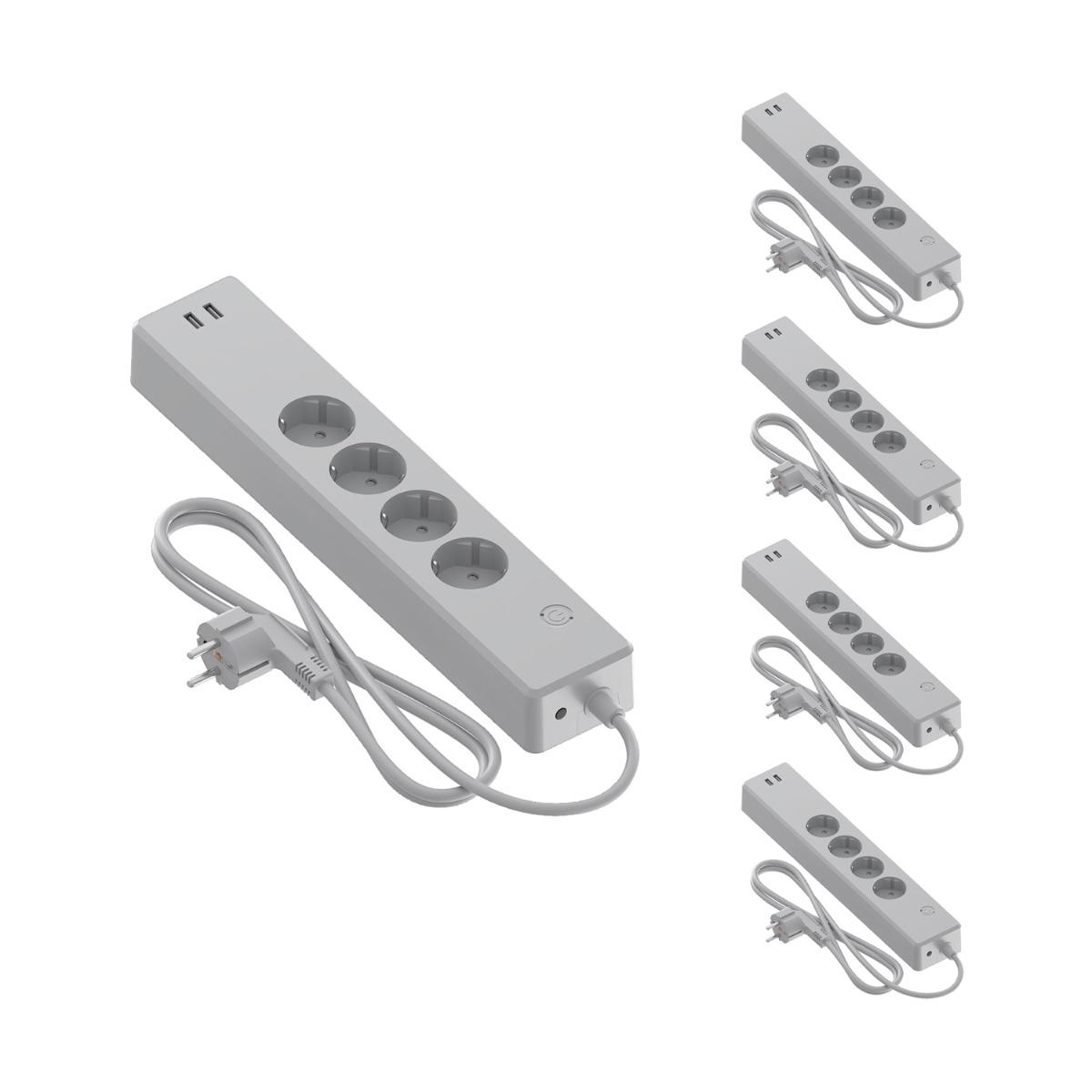 Voordeelpak 5x Calex Smart Stekkerdoos + USB EU | Tuya Wi-Fi