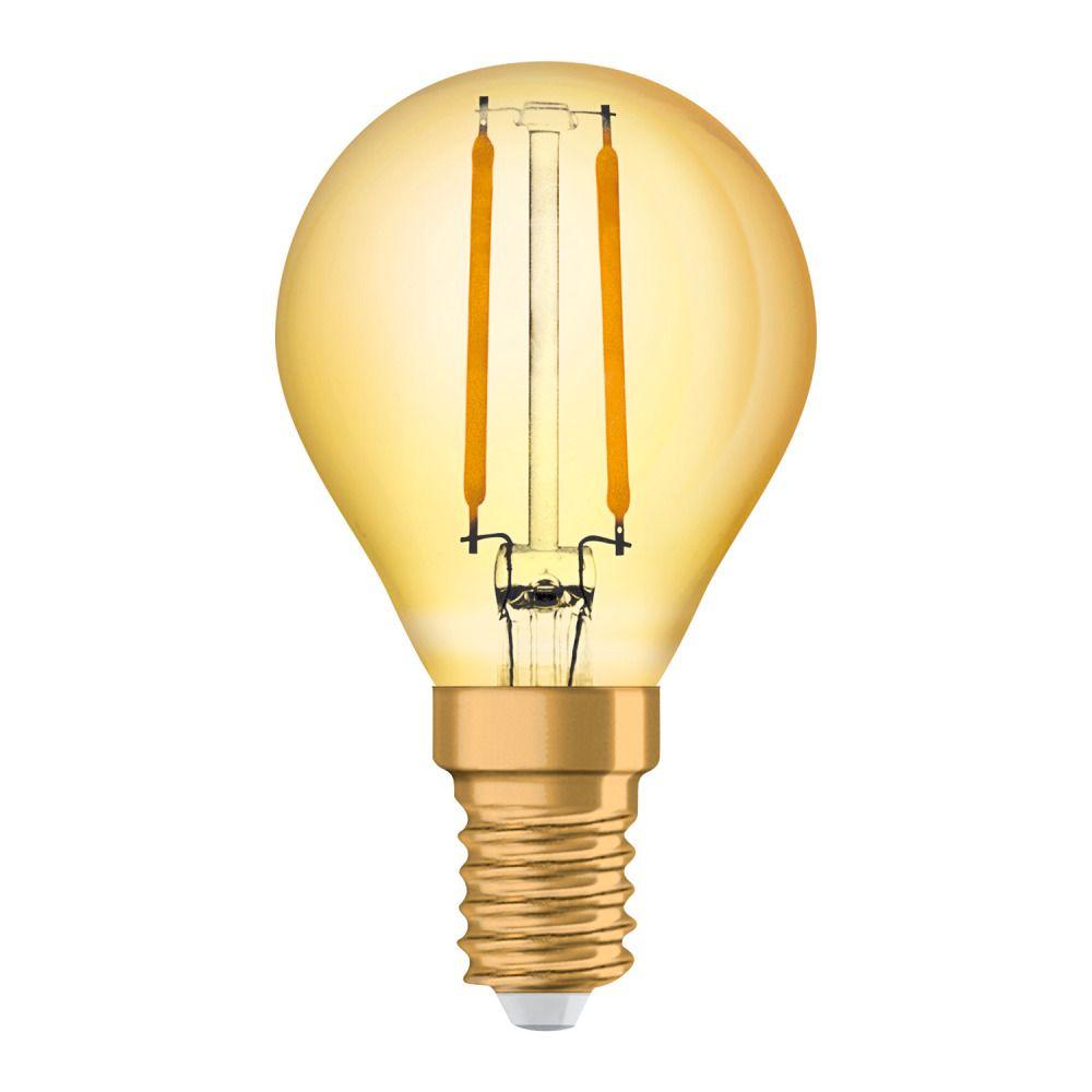 Osram Vintage 1906 LED Classic E14 P 1.5W 824 Fadenlampe Gold | Extra Warmweiß - Ersatz für 12W