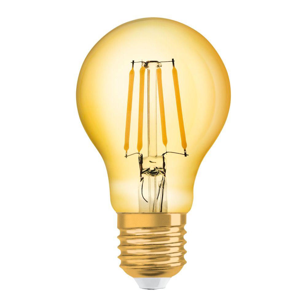 Osram Vintage 1906 LED Classic E27 A 6.5W 824 con Filamento Oro | Luz muy Cálida - Reemplazo 50W