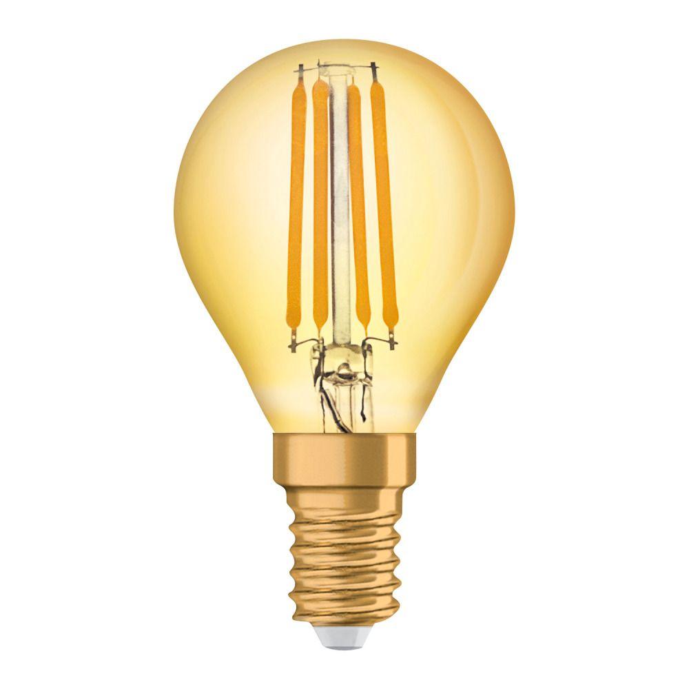 Osram Vintage 1906 LED Classic E14 P 4W 825 Fadenlampe Gold | Extra Warmweiß - Ersatz für 35W