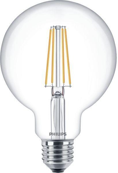 Philips Classic LEDbulb E27 G93 8W 827 Klar | Extra Warmweiß - Dimmbar - Ersetzt 60W