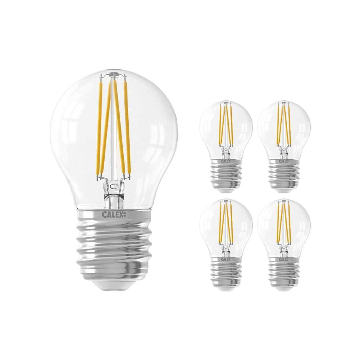 Multipack 5x Calex Smart Spherical LED Bulb E27 4,5W 450lm 1800-3000K Filament | Tuya Wifi