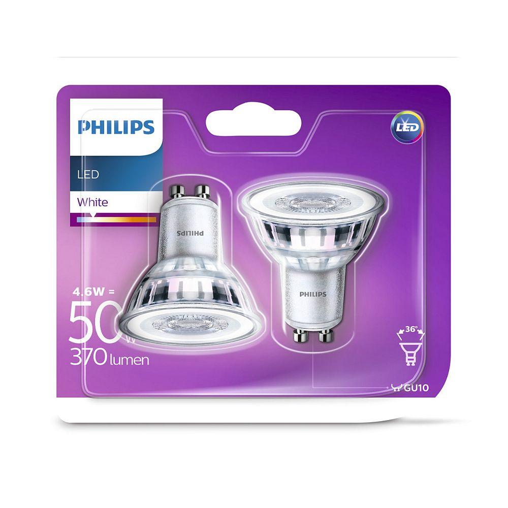 2x Philips LEDspot GU10 PAR16ND 4.6W 830 370lm (Classic) | Warm Wit - Vervangt 50W