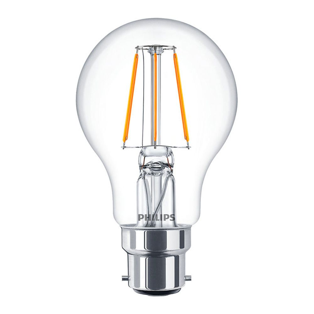 Philips Classic LEDbulb B22 A60 4W 827 Clear | Extra Warm White - Replaces 40W