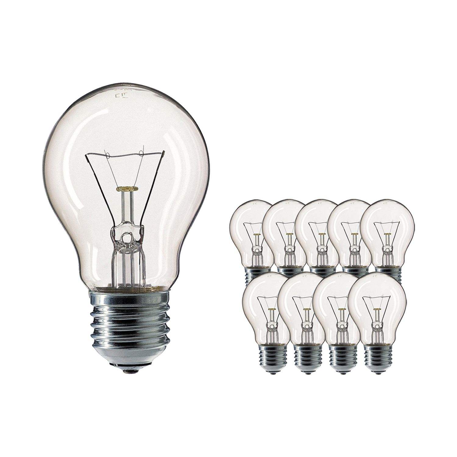 Multipack 10x Standard Incandescent Bulb Clear E27 40W 230V