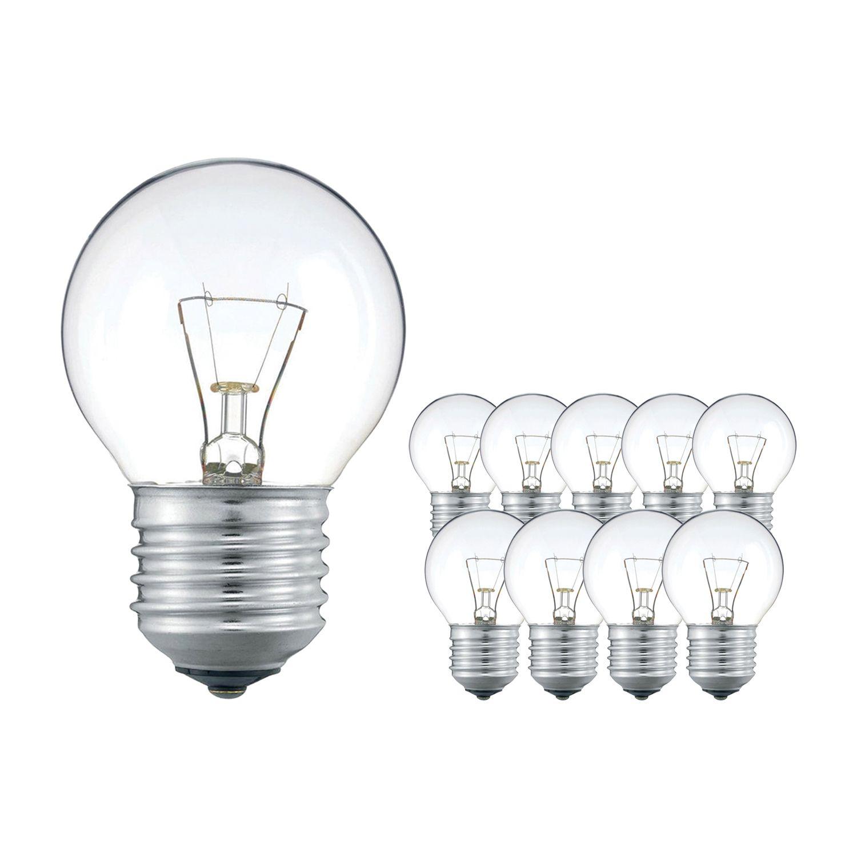 Multipack 10x Standard Glühlampe Klar P45 E27 25W 230V