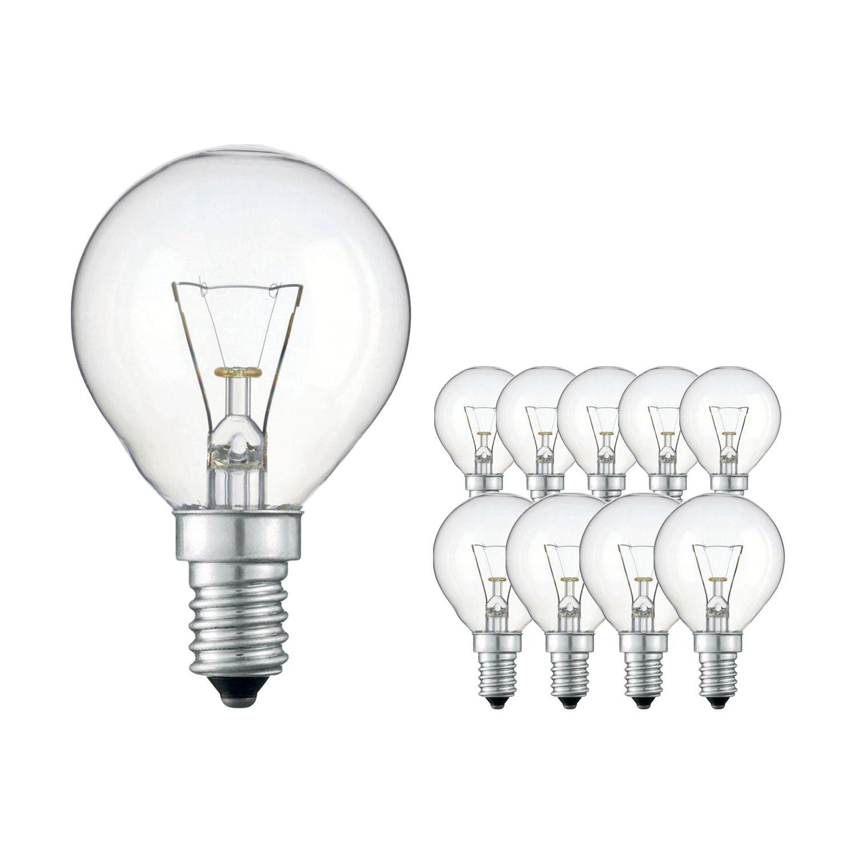 Mehrfachpackung 10x Standard Glühlampe Klar P45 E14 40W 230V