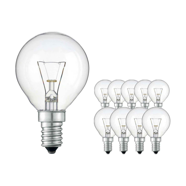 Mehrfachpackung 10x Standard Glühlampe Klar P45 E14 60W 230V