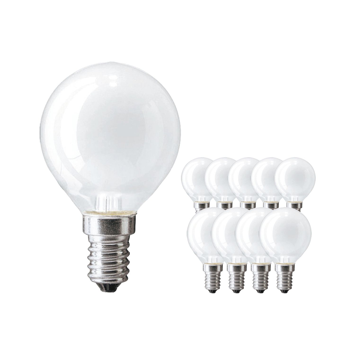 Multipack 10x Standard Incandescent Bulb Frosted P45 E14 60W 230V