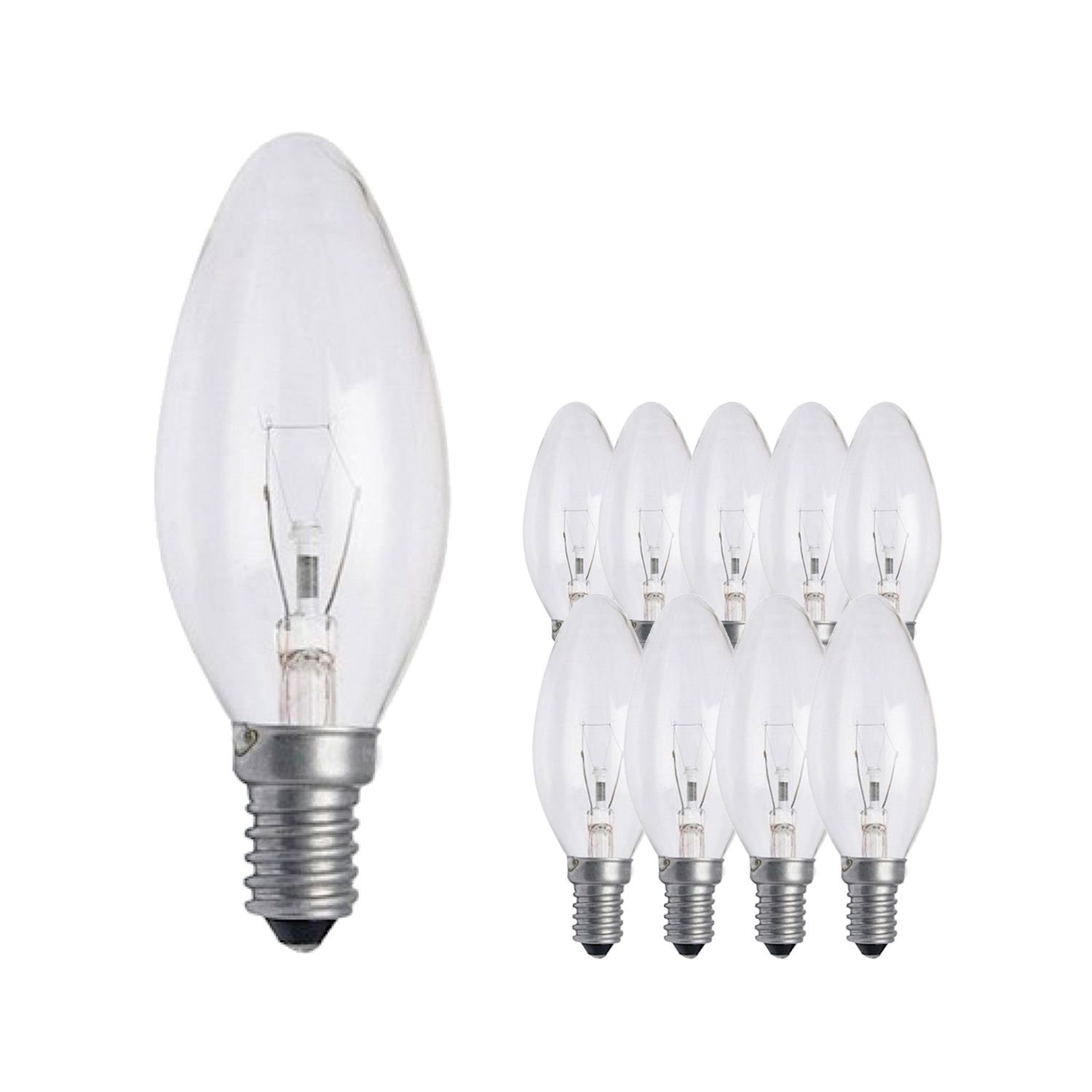 Multipack 10x Standard Incandescent Candle Clear B35 E14 25W 230V