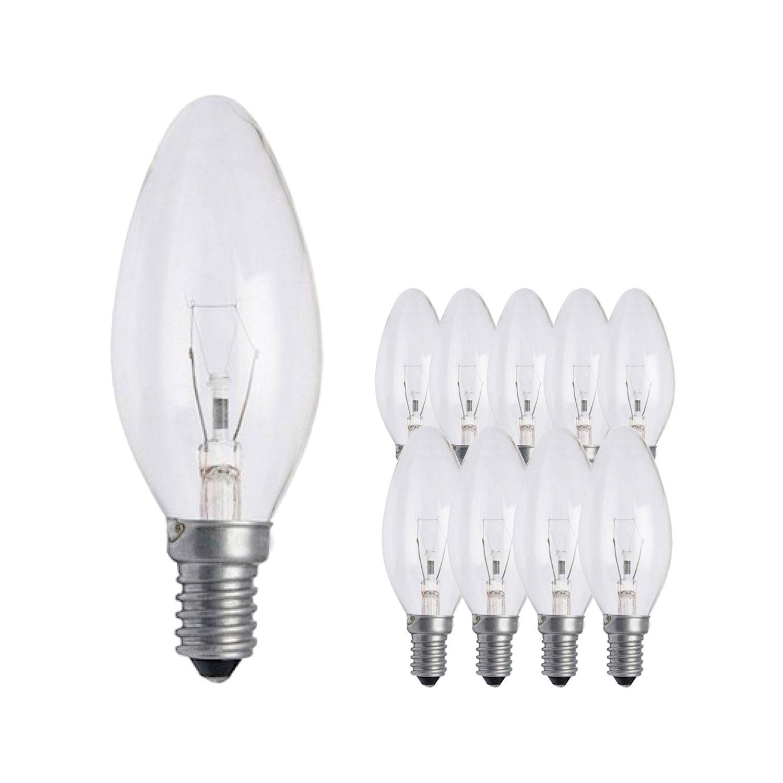 Mehrfachpackung 10x Standard Glühlampe Kerze Klar B35 E14 25W 230V