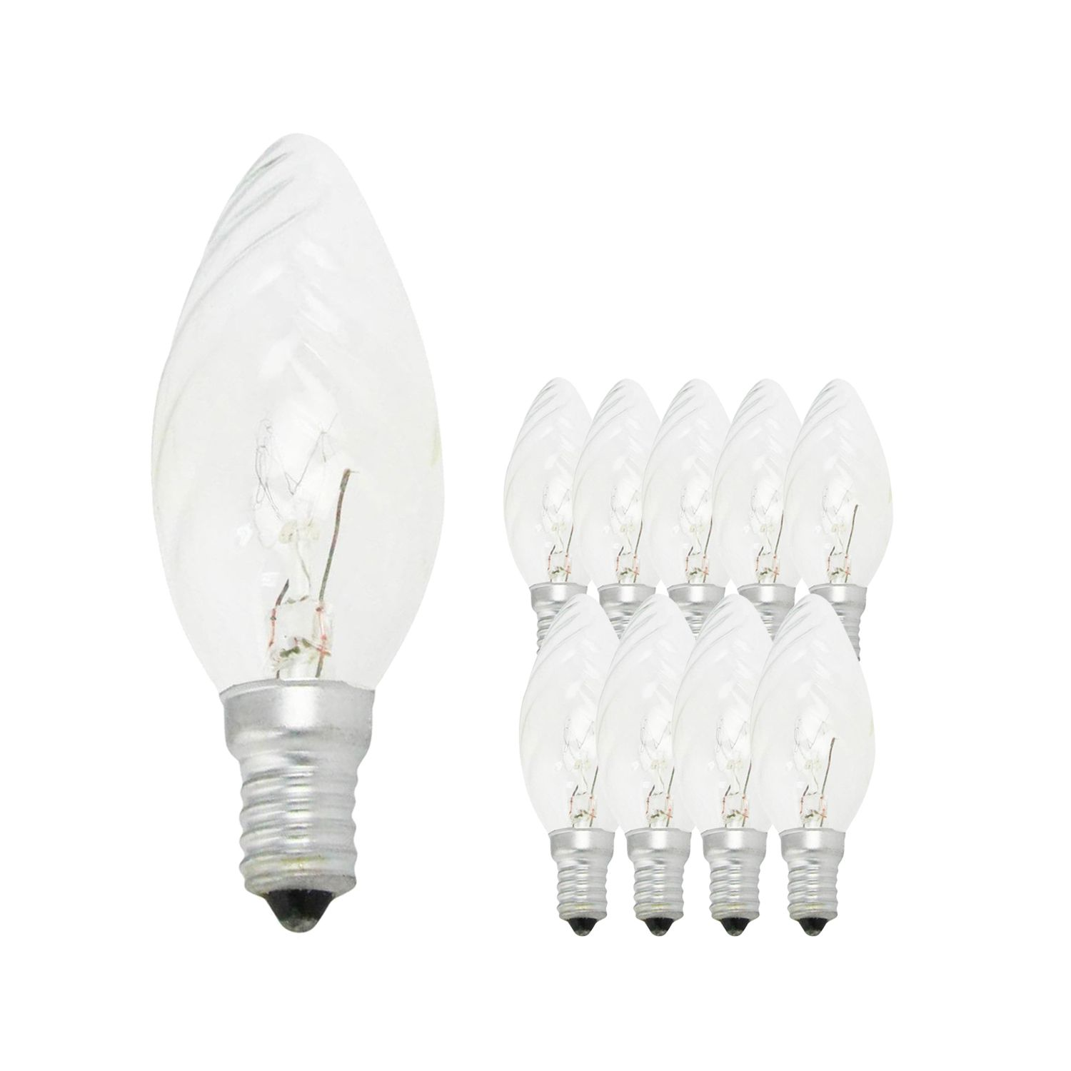 Multipack 10x Standard Incandescent Twisted Candle Clear BF35 E14 25W 230V