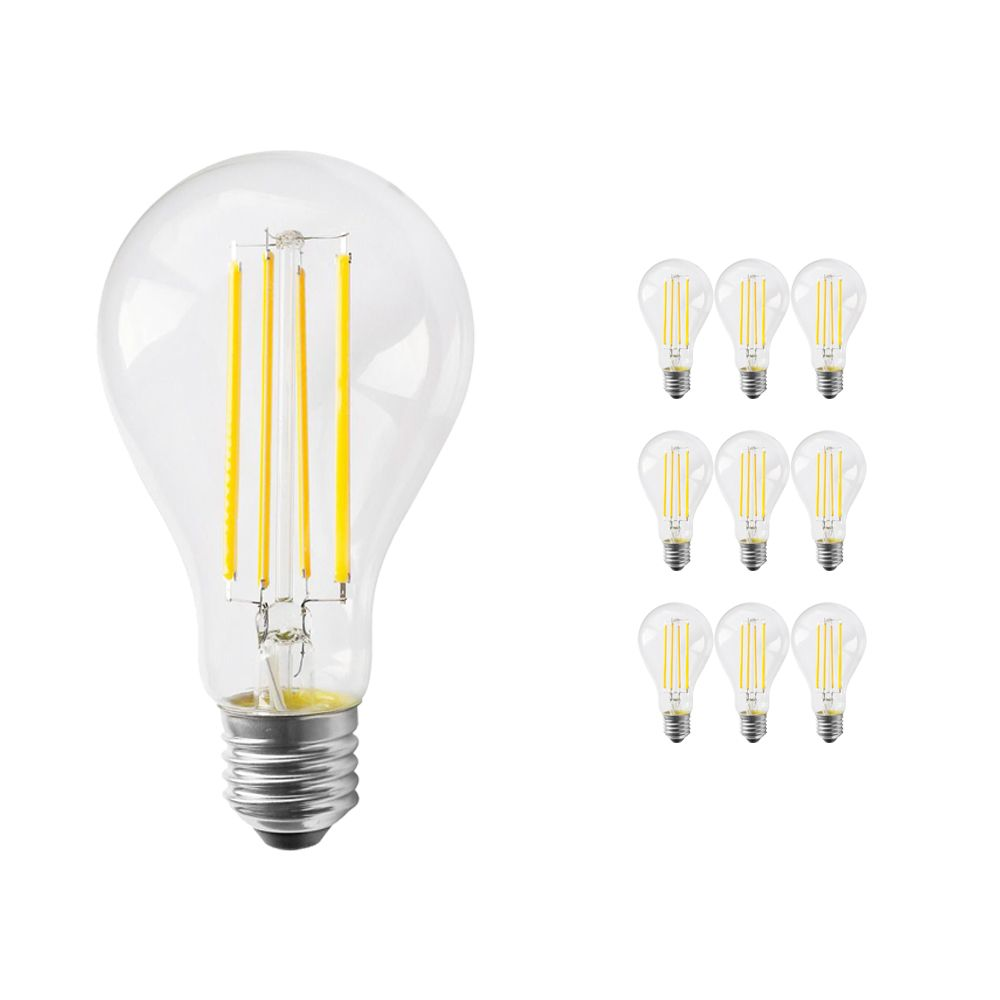 Multipack 10x Noxion Lucent Classic LED Filament A70 E27 13W 827 Clear | Dimmable - Extra Warm White - Replaces 100W