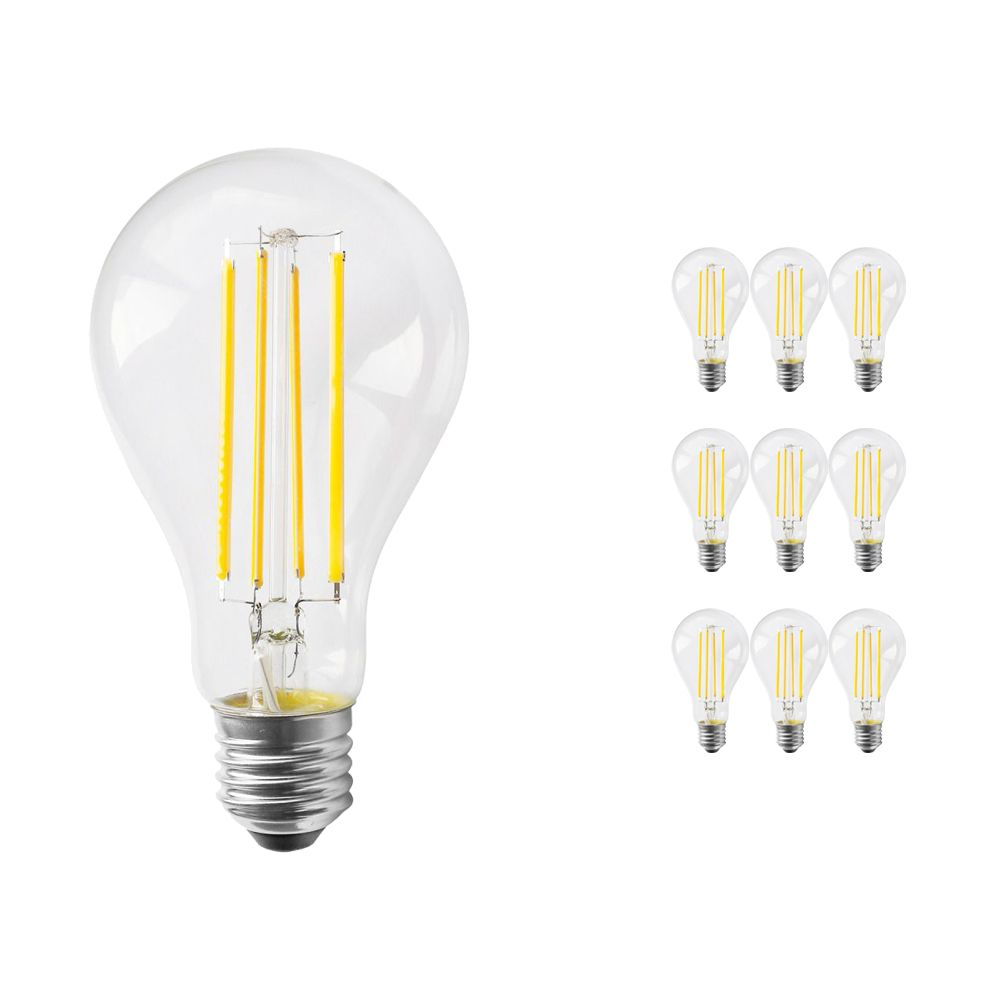Multipack 10x Noxion Lucent Classic LED Filament A70 E27 12W 827 Clear | Replacer for 100W