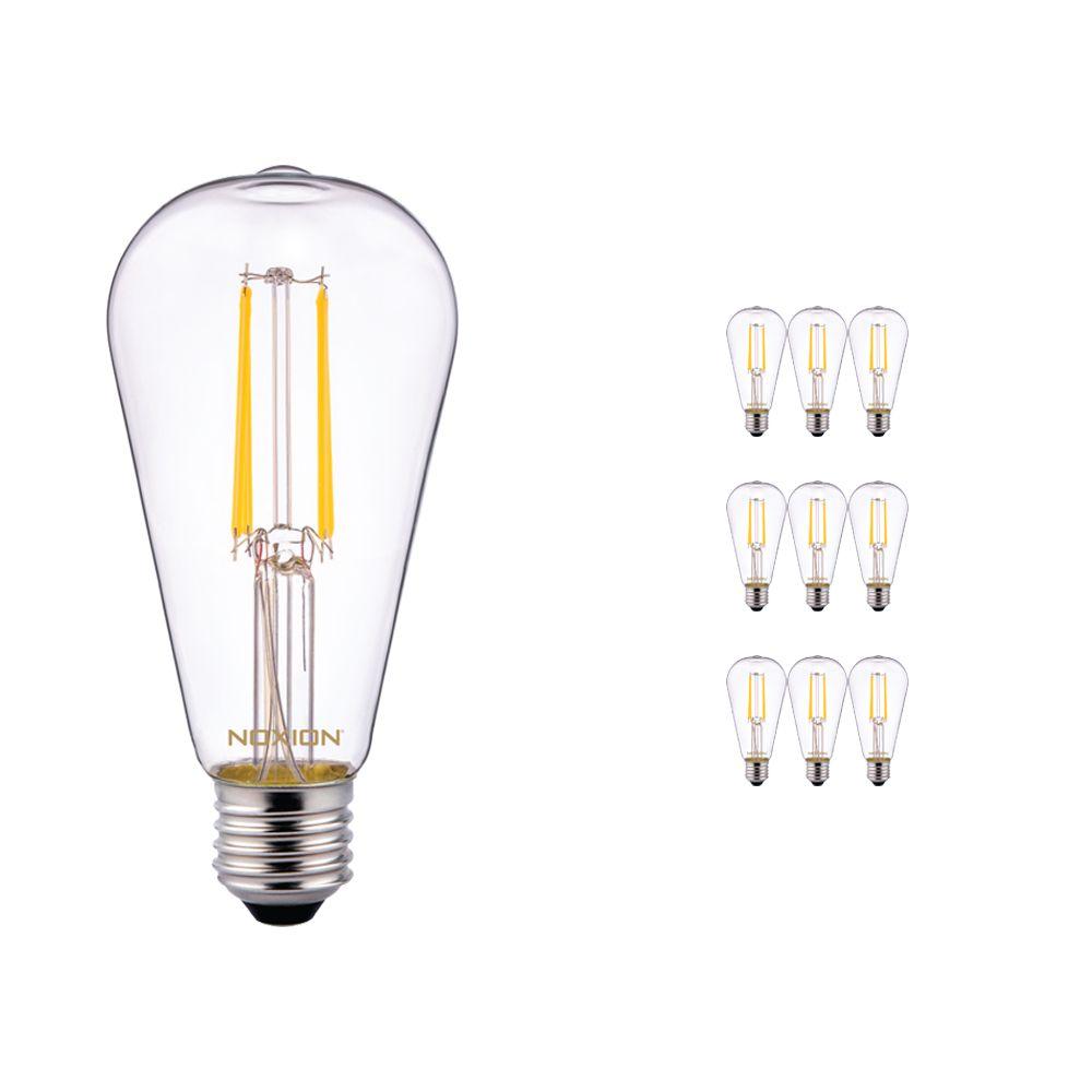 Fordelspakning 10x Noxion Lucent Classic LED filament ST64 E27 6.5W 827 klar | ekstra varm hvit - erstatter 60W