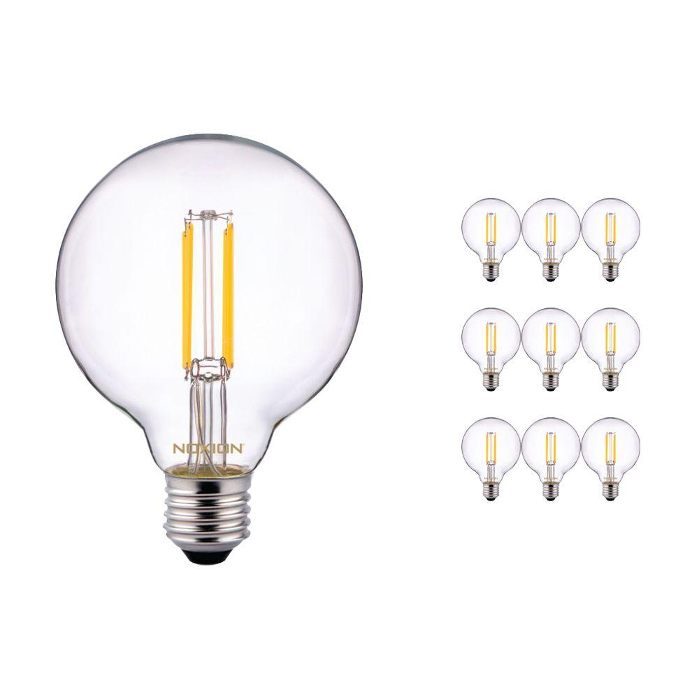 Voordeelpak 10x Noxion PRO LED Globe Classic Filament G95 E27 8W 827 Helder | Zeer Warm Wit - Dimbaar - Vervangt 60W