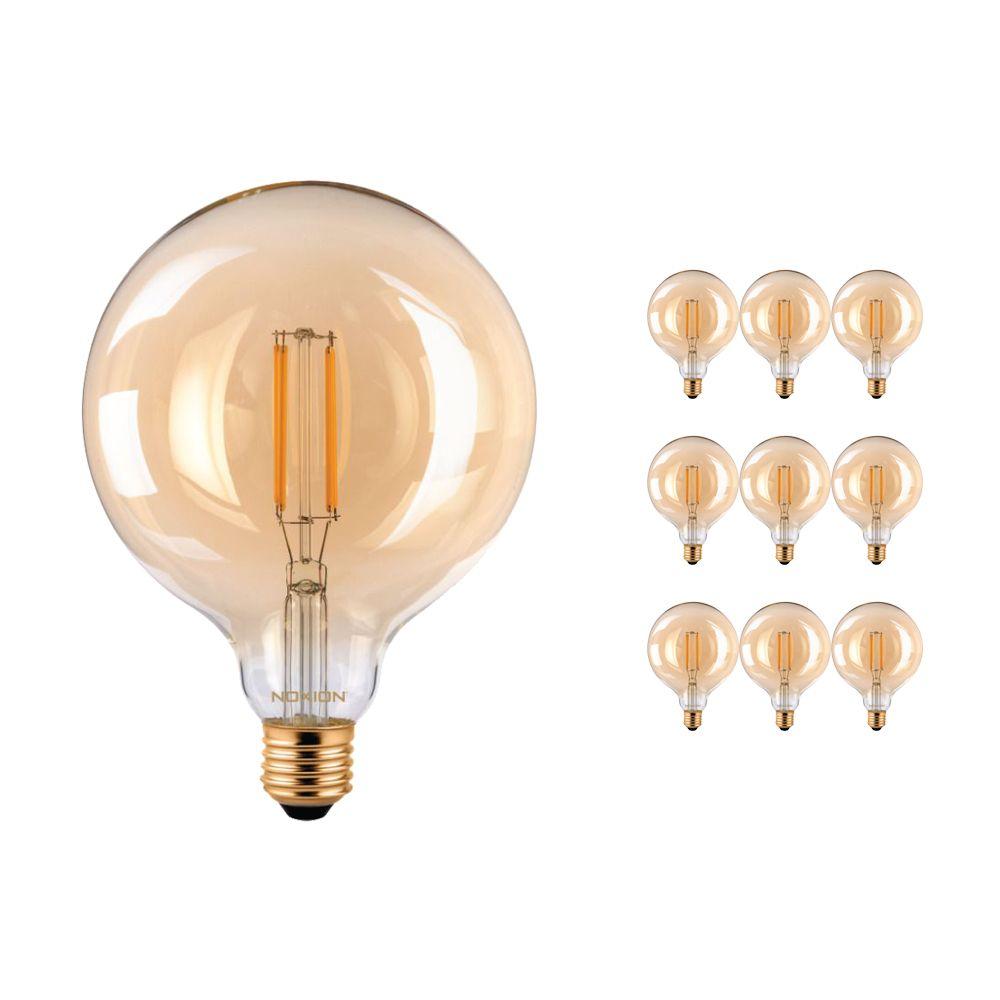 Multipack 10x Noxion PRO LED Globe Classic Gloeilamp G125 E27 8W 822 Amber | Dimbaar - Vervanger voor 60W
