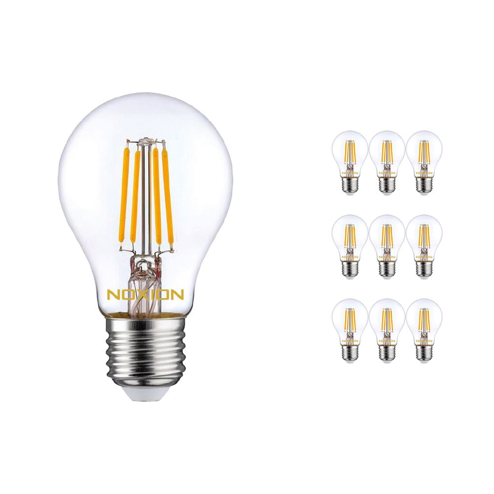 Multipack 10x Noxion Lucent Filament LED Bulb 8W 827 A60 E27 Clear | Replacer for 75W
