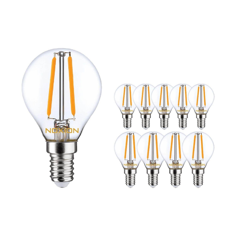 Mehrfachpackung 10x Noxion Lucent Fadenlampe LED Lustre 2.5W 827 P45 E14 Klar | Extra Warmweiß - Ersatz für 25W