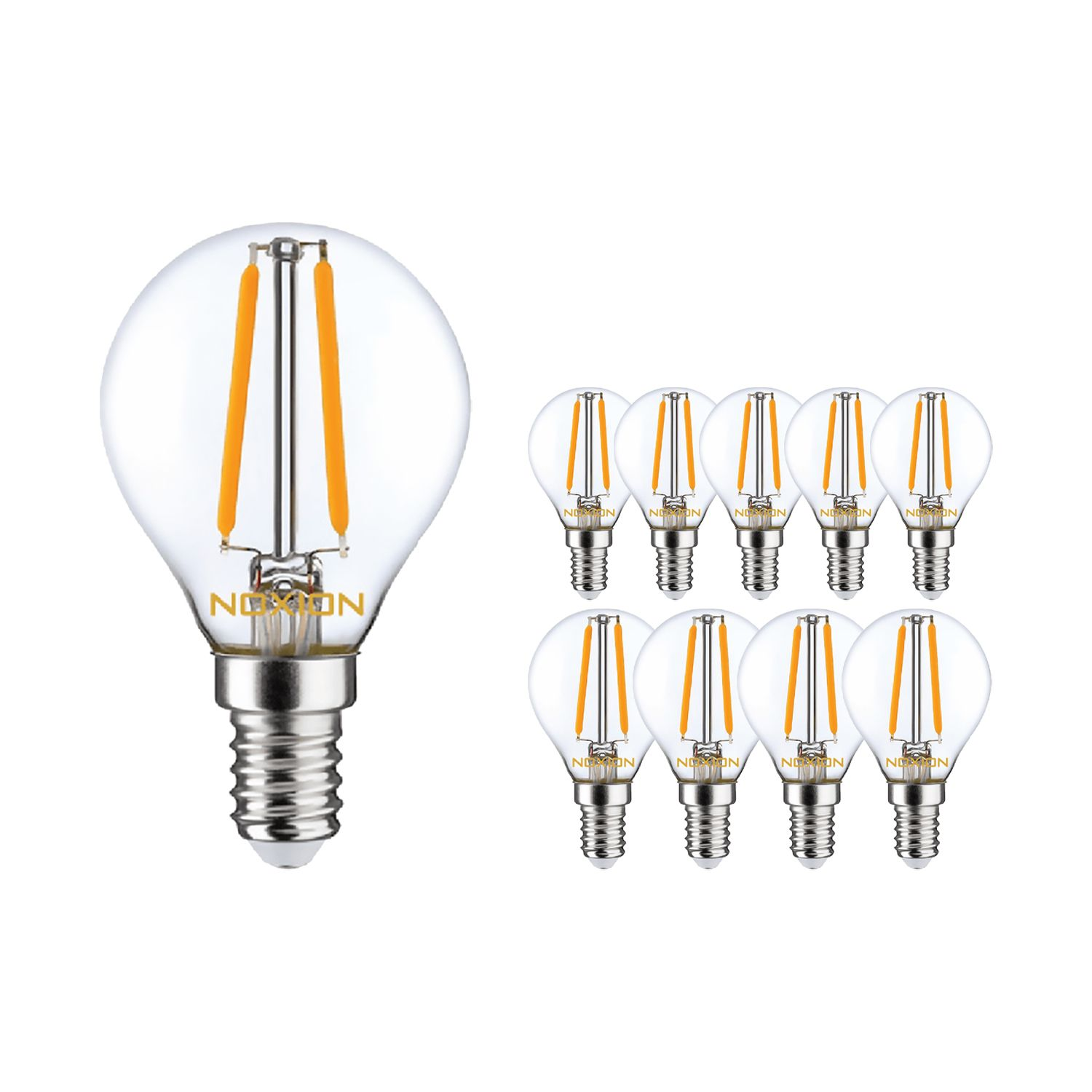 Multipack 10x Noxion Lucent Filament LED Lustre 4.5W 827 P45 E14 Clear | Dimmable - Extra Warm White - Replaces 40W