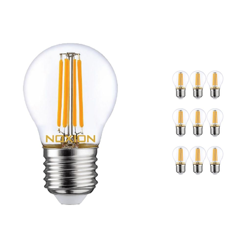 Multipack 10x Noxion Lucent Filament LED Lustre 4.5W 827 P45 E27 Clear | Dimmable - Replacer for 40W
