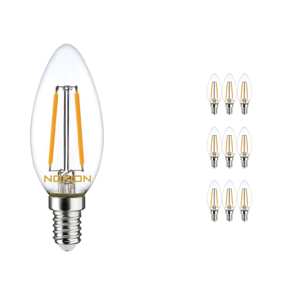 Multipack 10x Noxion Lucent Filament LED Candle 2.5W 827 B35 E14 Clear | Dimmable - Extra Warm White - Replaces 25W