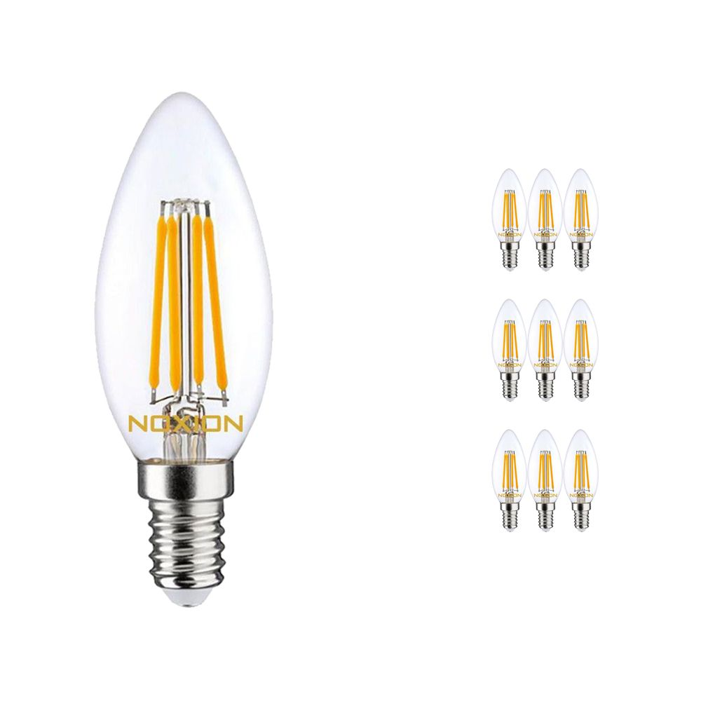 Multipack 10x Noxion Lucent Filament LED Candle 4.5W 827 B35 E14 Clear | Dimmable - Extra Warm White - Replaces 40W