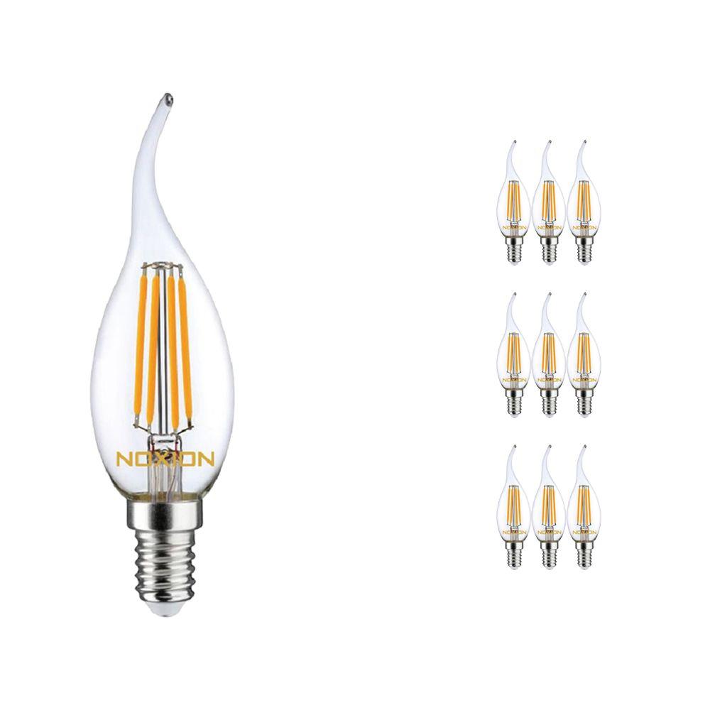 Multipack 10x Noxion Lucent Gloeilamp LED Kaars 4.5W 827 BA35 E14 Helder | Dimbaar - Vervanger voor 40W