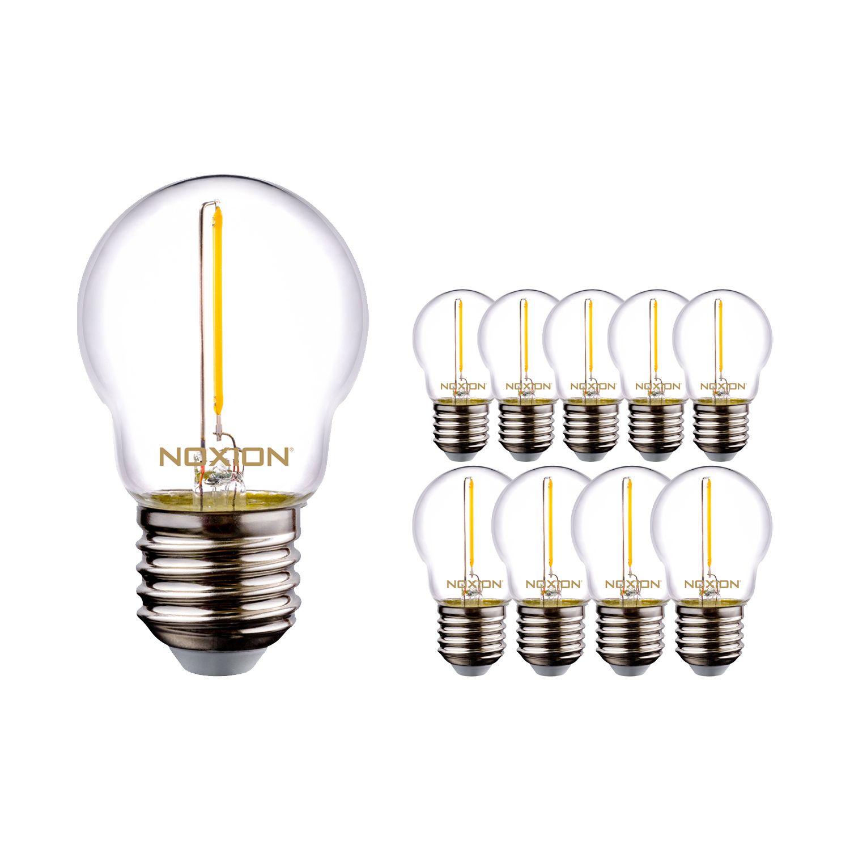 Lot de 10 Ampoules LED à filament Noxion Lustre P45 E27 1.4-15W 136lm 827 ND | Blanc Très Chaud - Equivalent 15W