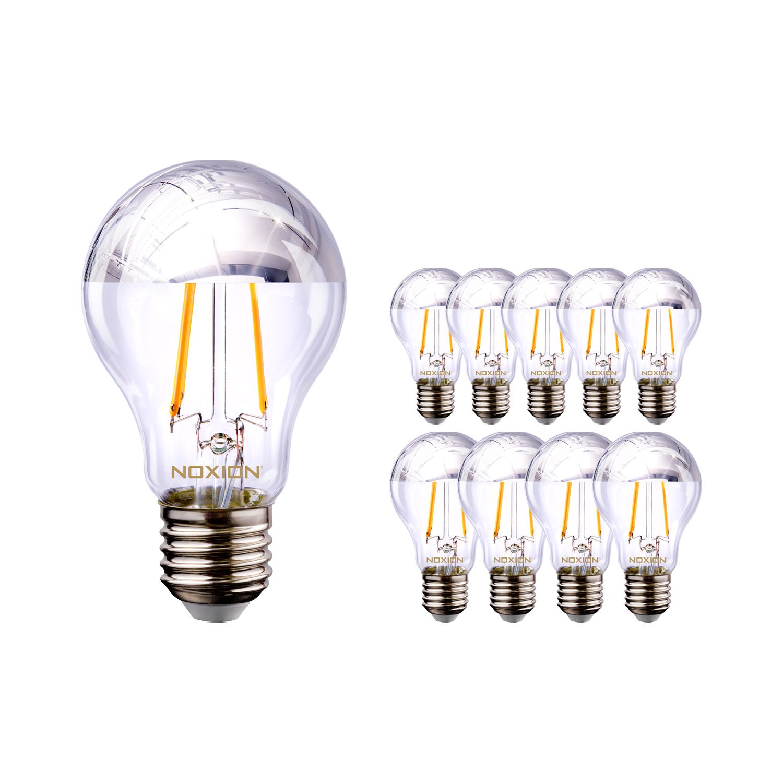 Multipack 10x Noxion Lucent Gloeilamp LED Bulb Zilver Kopspiegel A60 E27 220-240V 7W 680LM CRI80 2700K ND (60W eqv.)