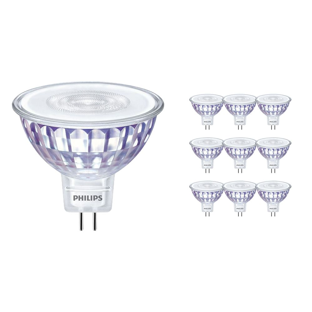 Mehrfachpackung 10x Philips LEDspot LV Value GU5.3 MR16 5.5W 827 36D (MASTER) | Extra Warmweiß - Dimmbar - Ersatz für 35W