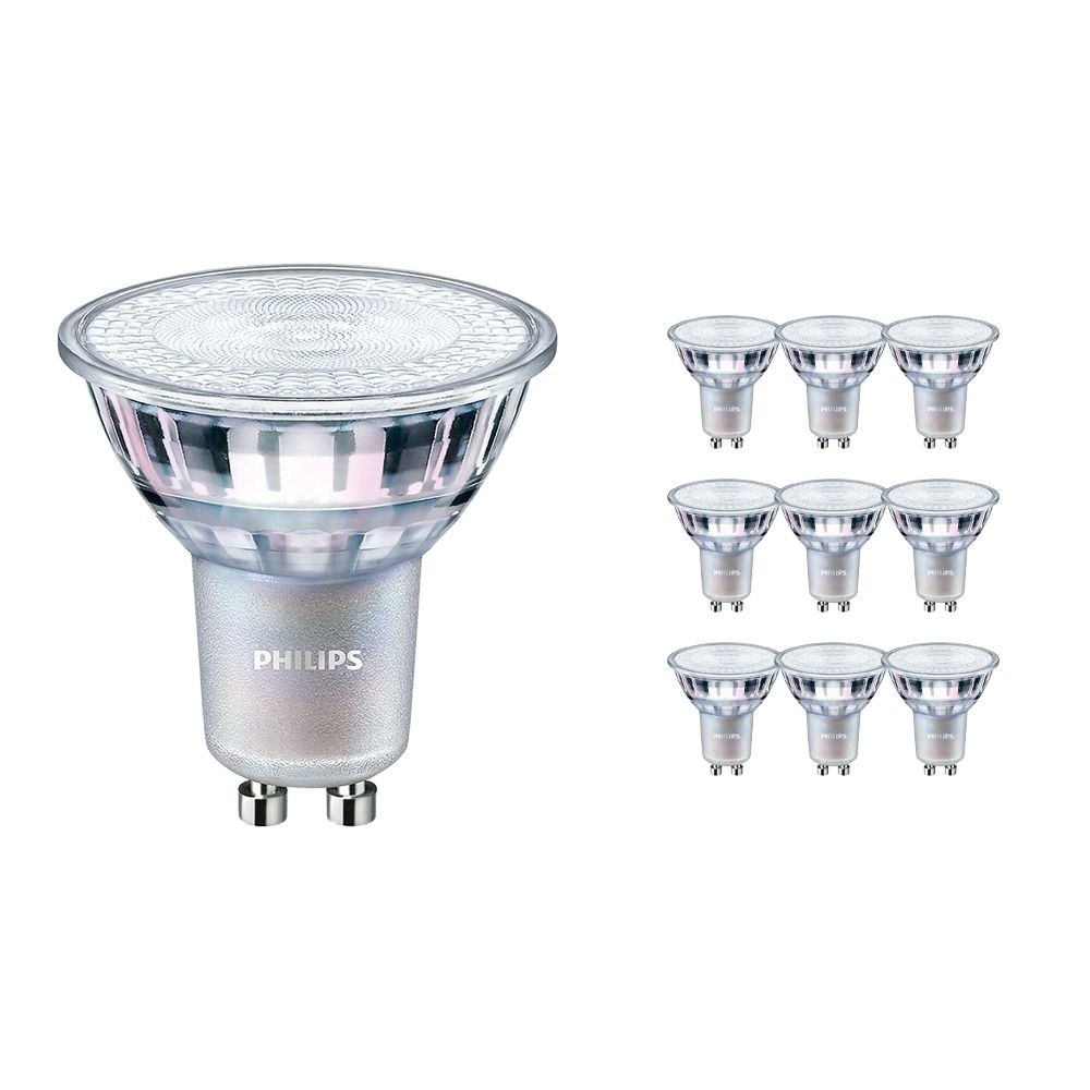 Multipack 10x Philips LEDspot MV Value GU10 3.7W 927 36D (MASTER) | Highest Colour Rendering - Dimmable - Replacer for 35W