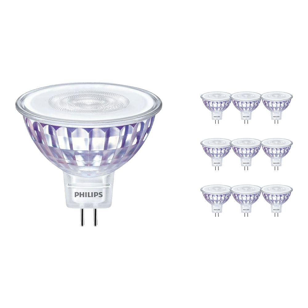 Multipack 10x Philips CorePro LEDspot LV GU5.3 MR16 7W 830 36D | Replacer for 50W