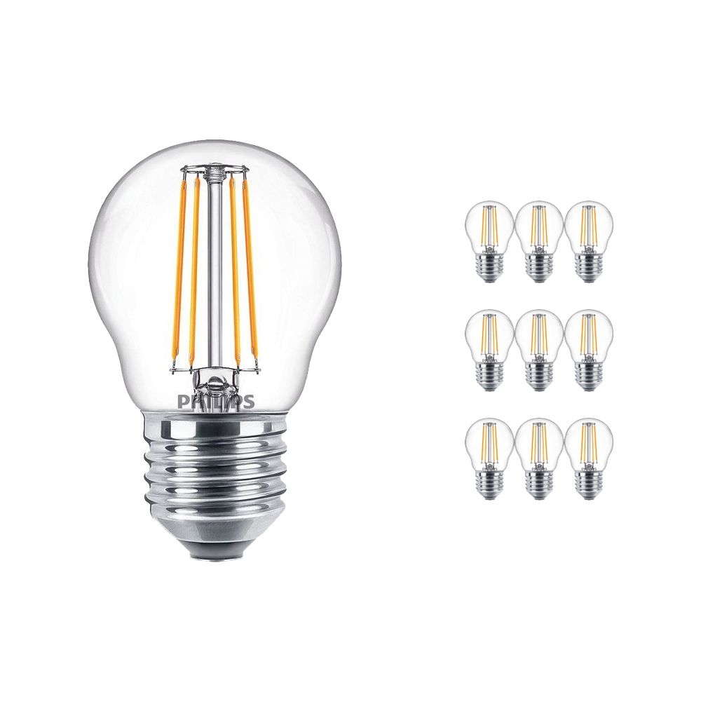 Multipack 10x Philips Classic LEDLuster E27 P45 4.3W 827 Clear | Replacer for 40W
