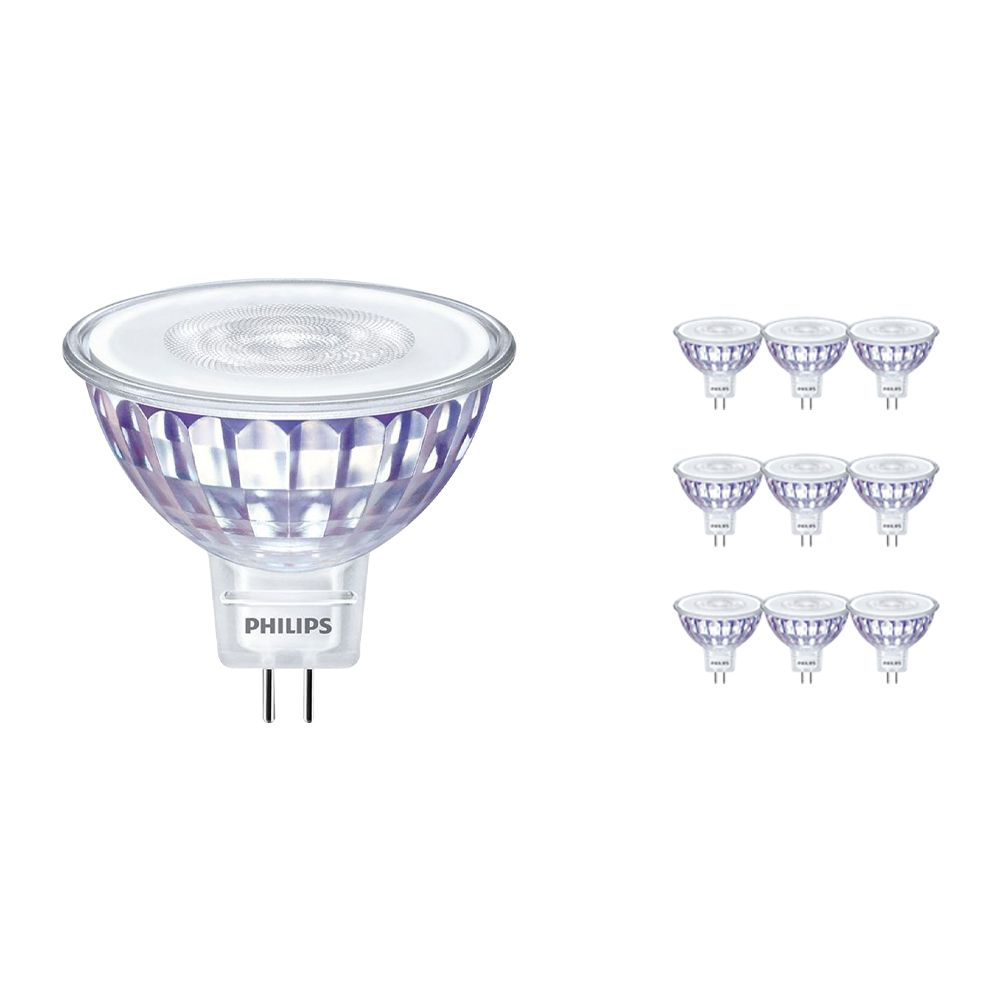 Multipack 10x Philips LEDspot LV Value GU5.3 MR16 5.5W 830 60D (MASTER) | Dimmable - Replacer for 35W