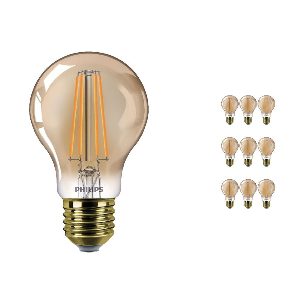 Multipack 10x Philips Classic LEDbulb E27 A60 8W 822 Gold | Dimmable - Replacer for 50W
