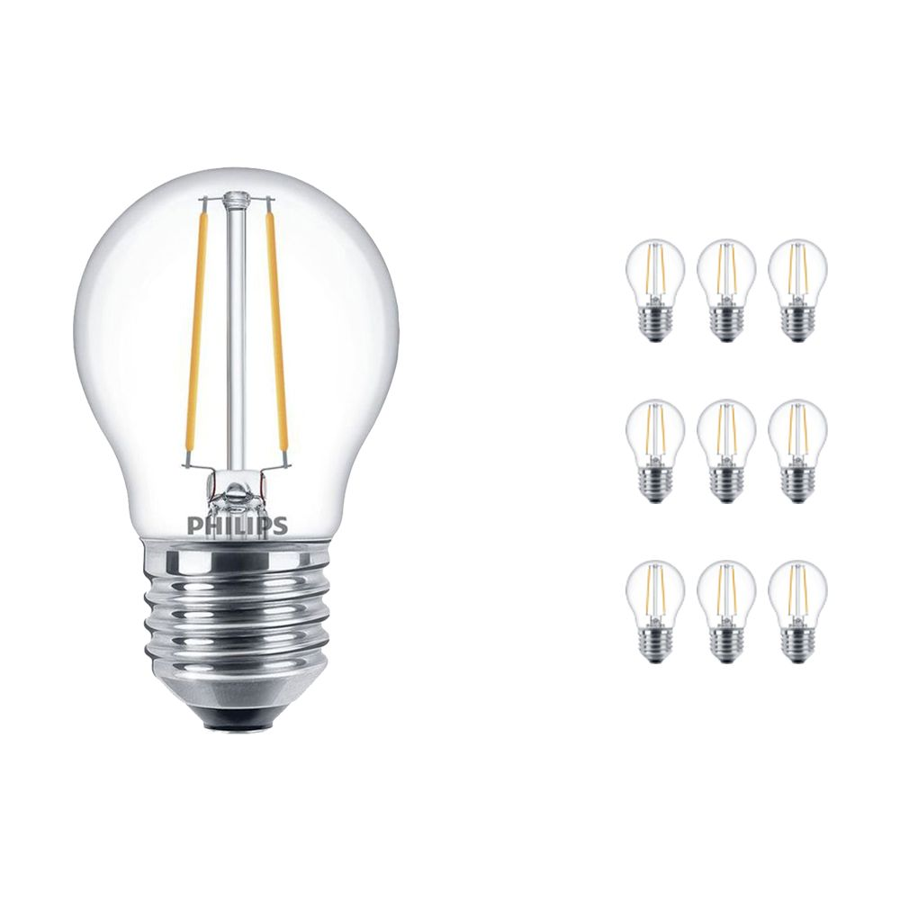Multipack 10x Philips Classic LEDlustre E27 P45 2.7W 827 Clear | Dimmable - Replacer for 25W