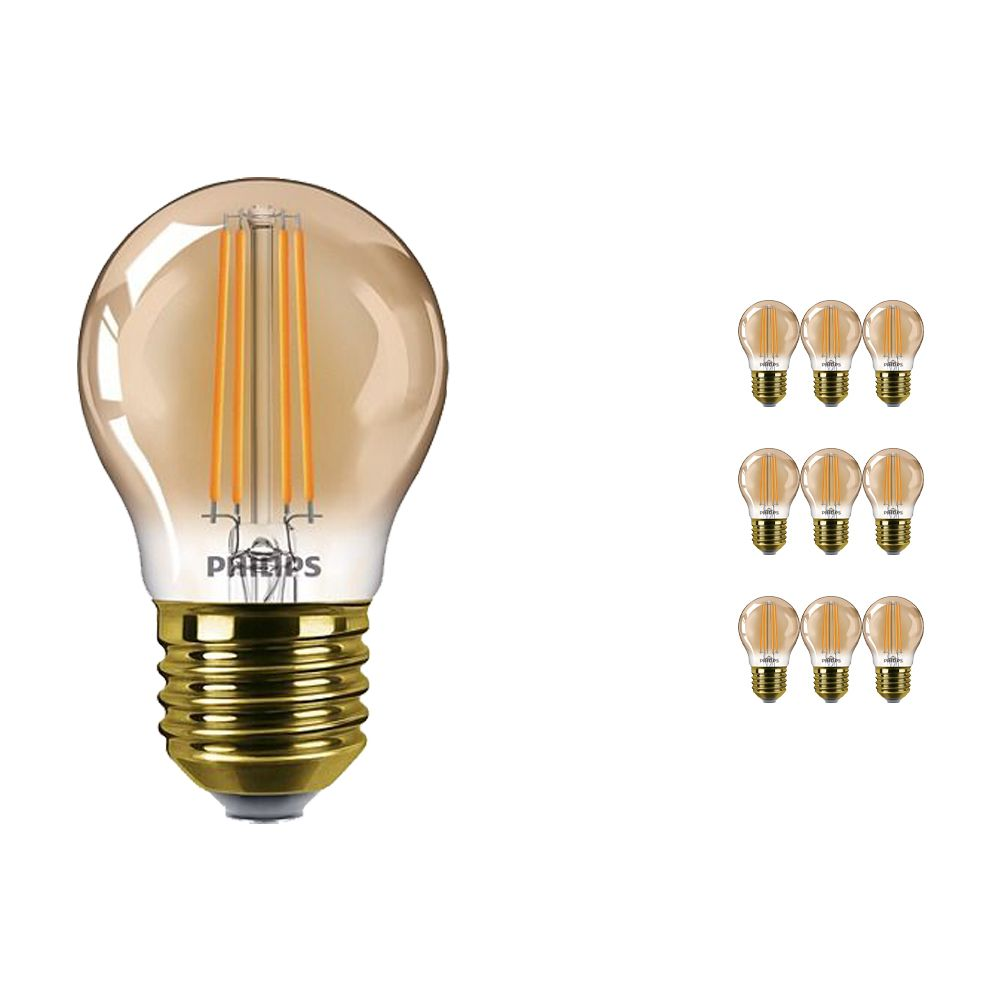 Multipack 10x Philips Classic LEDluster E27 P45 5W 822 Gold   Dimmable - Replacer for 32W