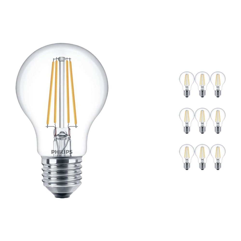 Multipack 10x Philips Classic LEDbulb E27 A60 7W 827 Clear | Replacer for 60W